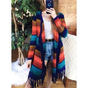 🌿 Boho Rainbow Striped Longline Fringe Cardigan